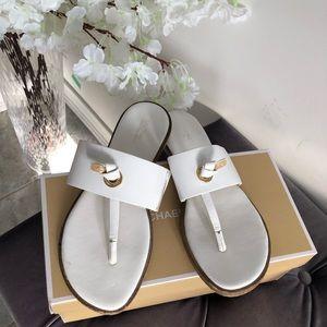 MK white sandals
